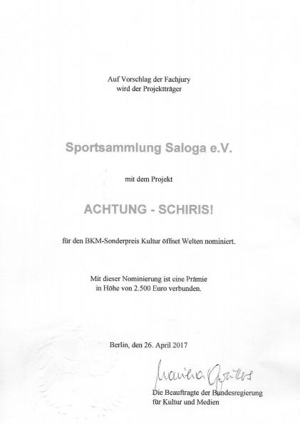 Achtung Schiris Urkunde